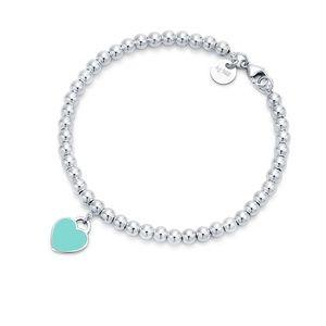 Tiffany Blue Heart Tag Bead Bracelet